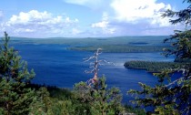 Miekojärvi Lake, crossed by the Arctic Circle, in summer in Pello in Finnish Lapland