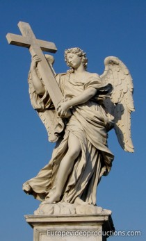 Angel with the Cross statue on Sant'Angelo Bridge in Rome, Italy