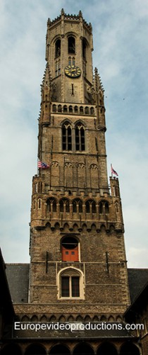 The belfry of Bruges in Flanders in Belgium