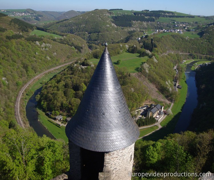 View from Bourscheid Castle in Luxembourg Ardennes
