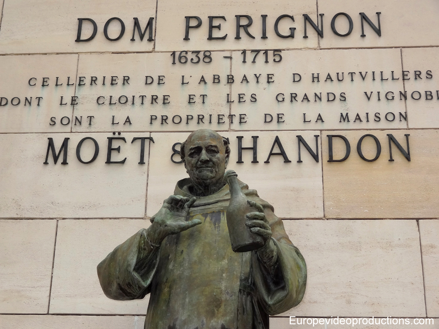 Statue of Dom Pérignon in Epernay, in Champagne region, France
