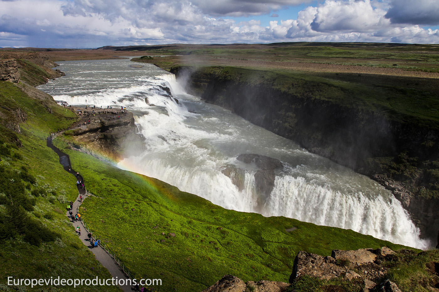 Gullfoss waterfall on the Golden Circle route in Iceland
