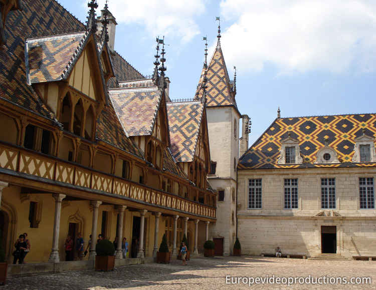 The Hospices de Beaune in the City of Beaune in the Burgundy Region in France