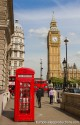 Iconic red telephone box and Big Ben in London, England