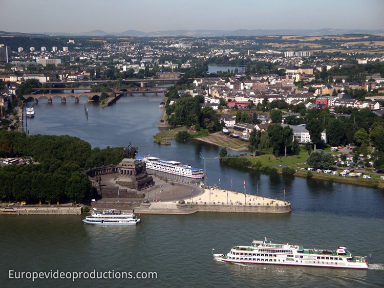 Moselle River joining the Rhine River in Koblenz in Germany