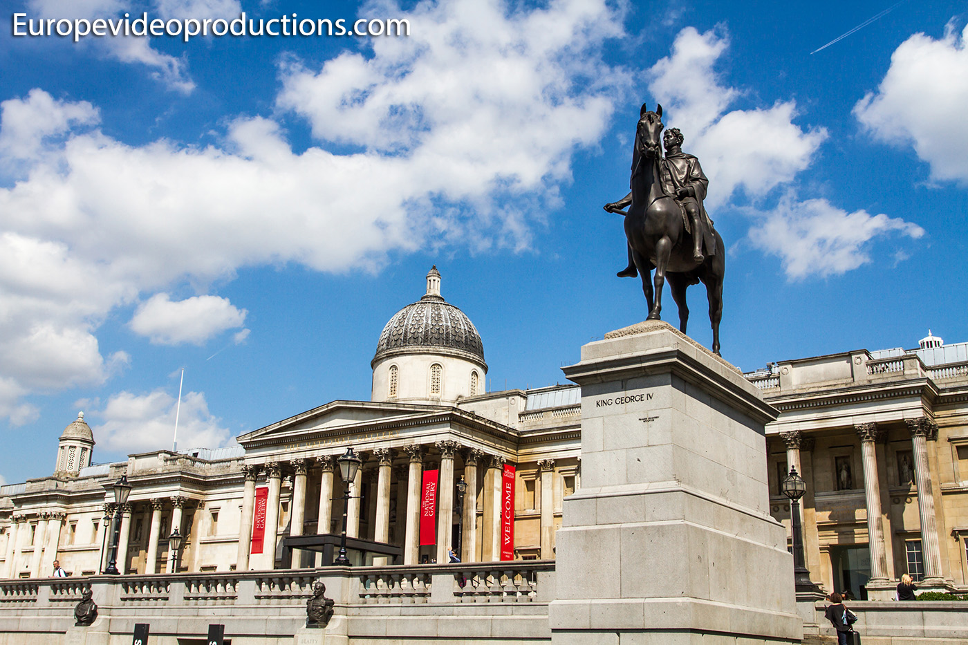 National Gallery on Trafalgar Square in London in England