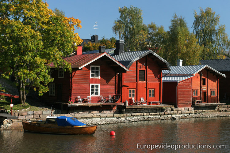 Porvoo's Old town with shore houses in Southern Finland