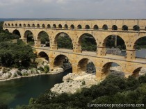 Pont du Gard Roman Aqueduct in Languedoc-Roussillon in France