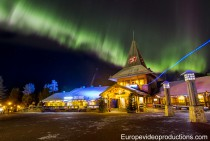 Santa Claus Village in Rovaniemi in Lapland under northern lights in October