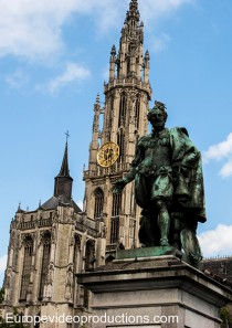 A statue of Peter Paul Rubens in the Green Square in Antwerp in Flanders in Belgium.