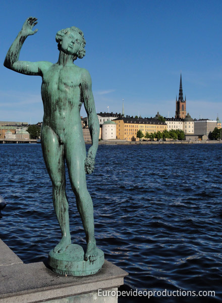 Statue near Stadshuset and Gamla Stan in Stockholm