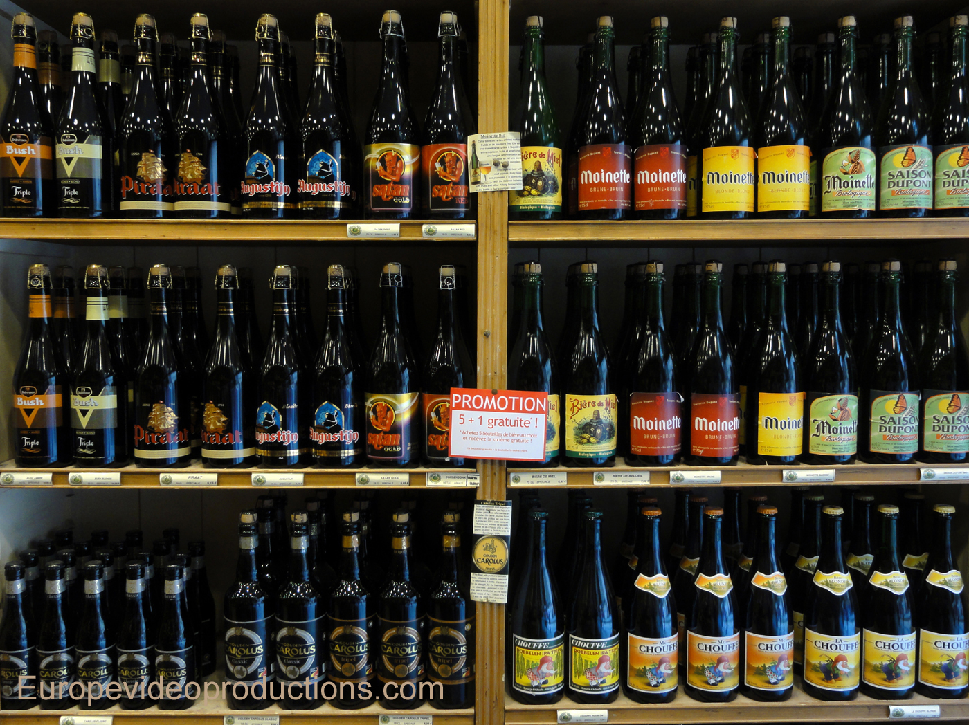 Beer bottles in a beer shop in Brussels, Belgium