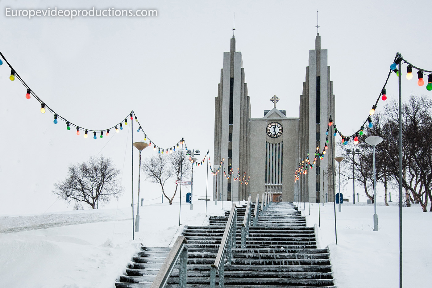Church of Akureyri during winter in Akureyri in Iceland