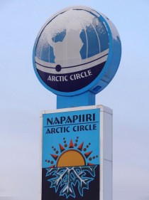 Arctic Circle sign in Pello in Finnish Lapland