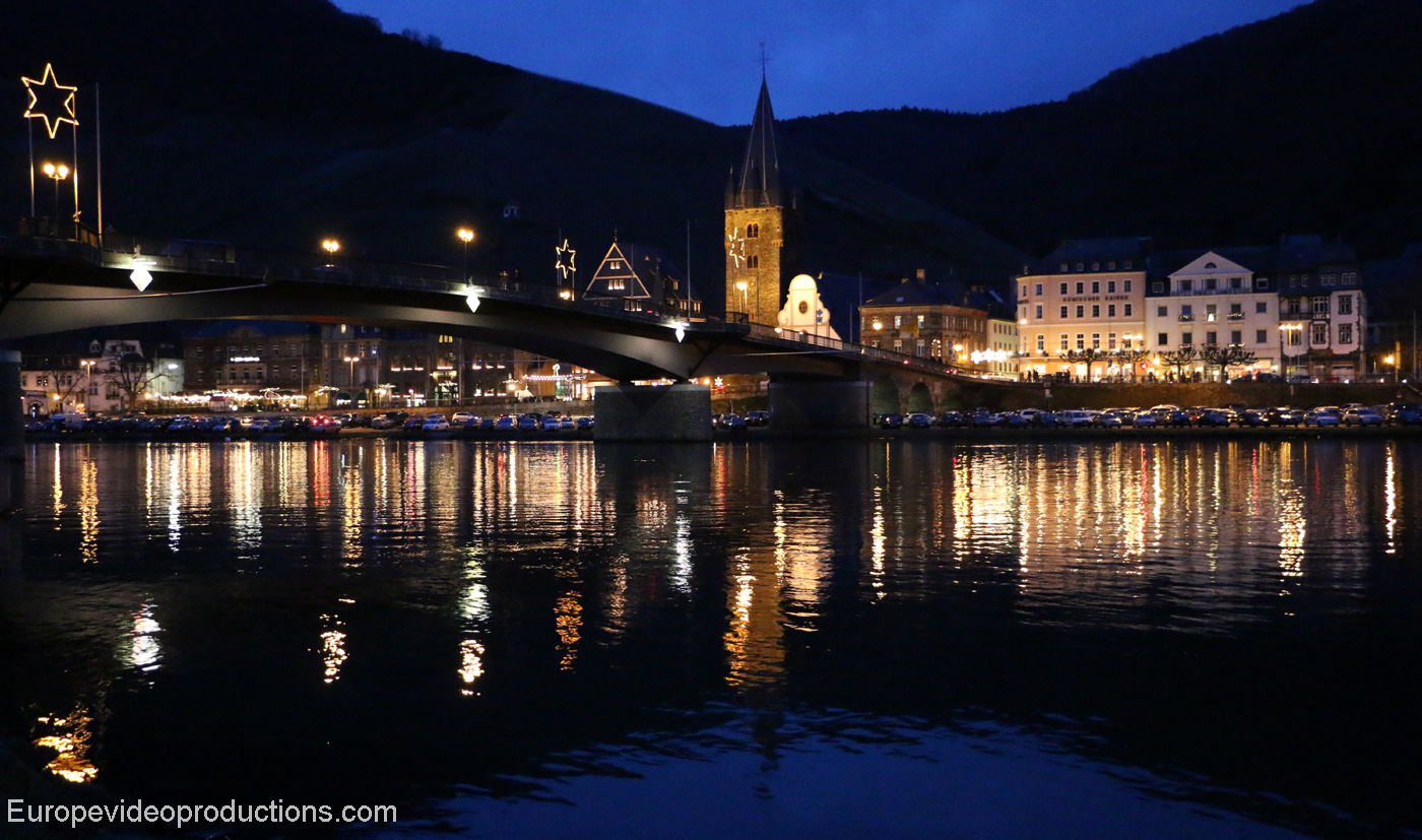 Moselle river and old town of Bernkastel-Kues in Germany during Christmas season