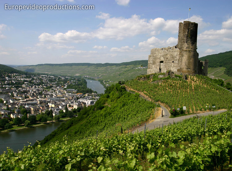 Bernkastel-Kues in Moselle Valley in Germany: ruins of Landshut Castle