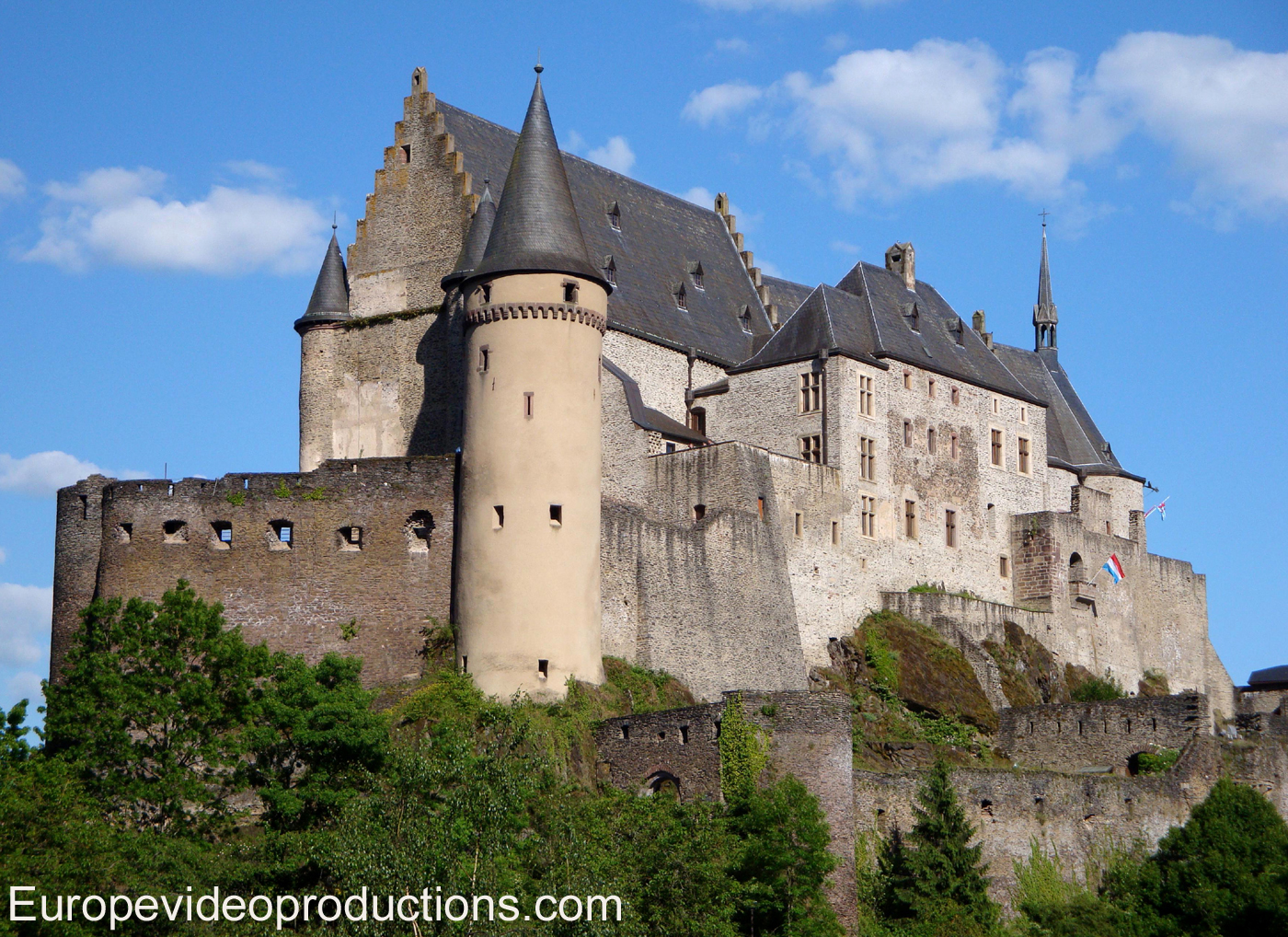 Castle of Vianden in Ardennes Mountains of Luxembourg