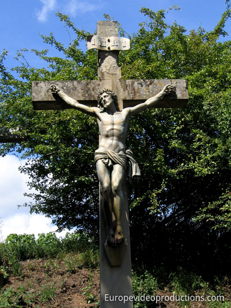 Crucifix in country side in Alsace in France