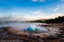 Geyser Strokkur in Iceland about to erupt