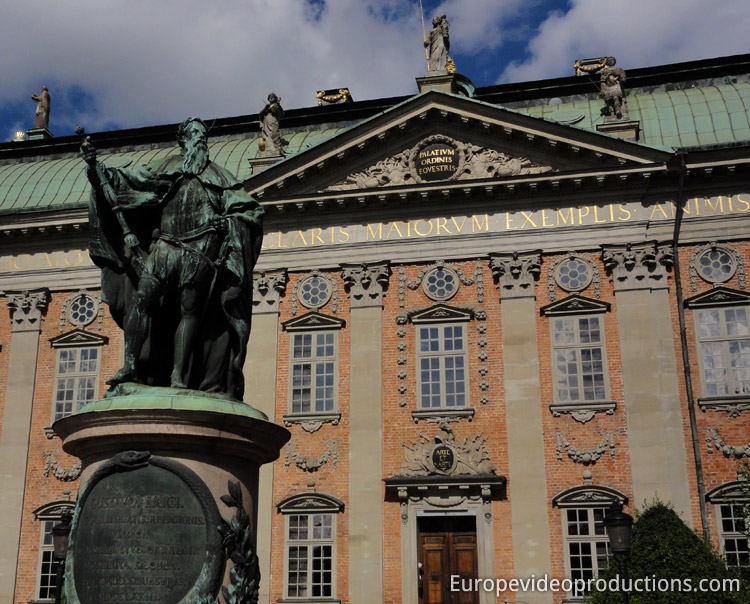 House of Nobility and Statue of Gustaf Ariksson Vasa in Stockholm in Sweden