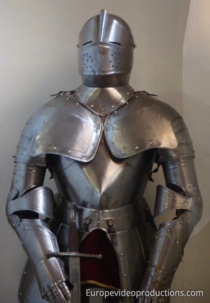 Armour in the Bourscheid Castle in Luxembourg