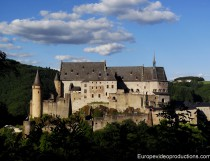 Medieval Vianden Castle in Ardennes of Luxembourg