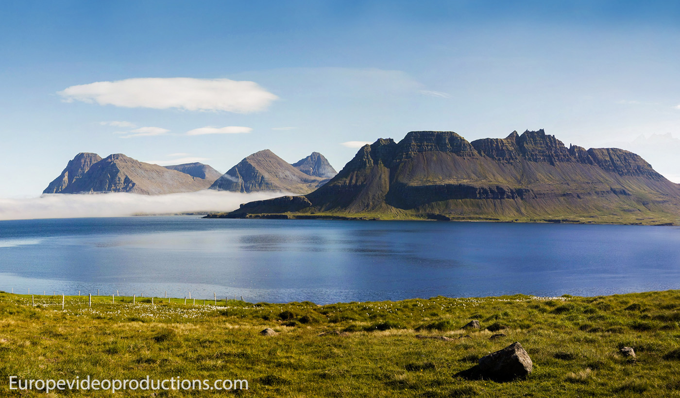 Mountains and fjords in Westfjords in Iceland
