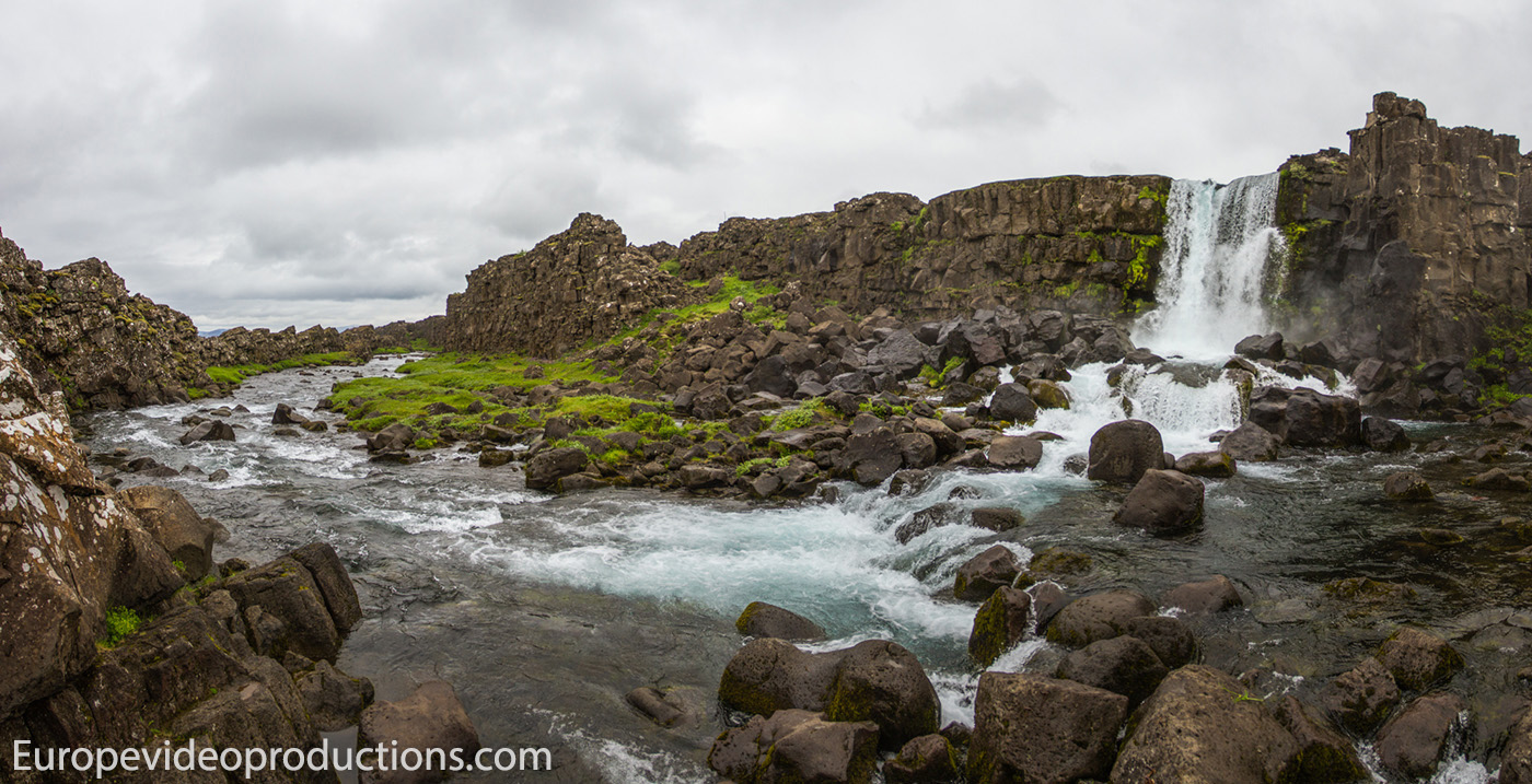 Öxarárfoss waterfall in Thingvellir National Park in Iceland
