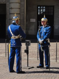 Guards in front of the Royal Palace in Stockholm in Sweden