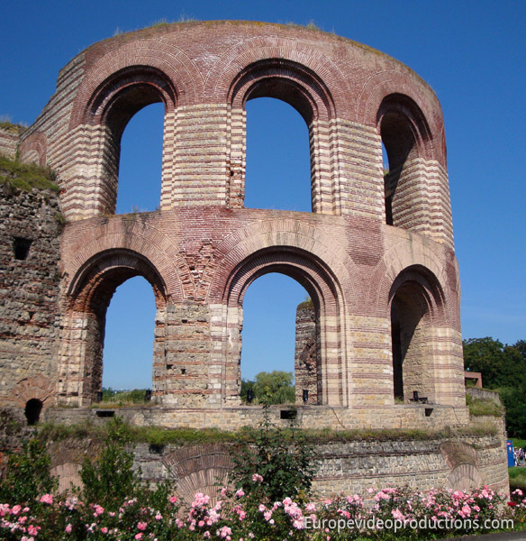 Ruins of the Roman Baths in Trier in Germany