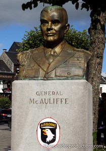Statue of General McAuliffe in Bastogne in Belgium