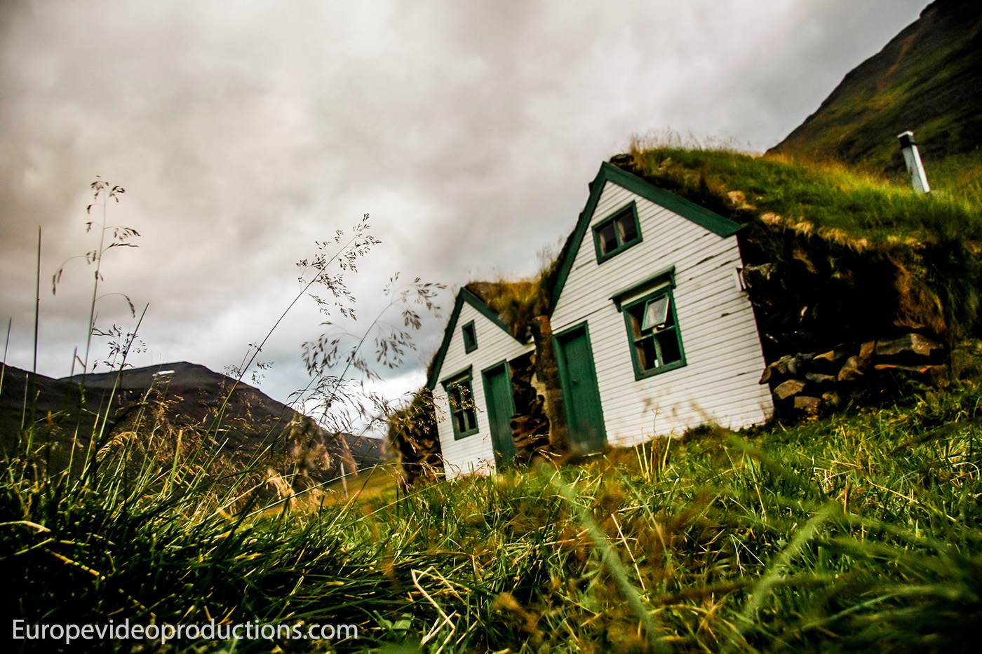 A typical turf house farm in Iceland